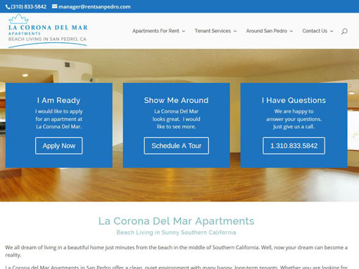 RentSanPedro Screenshot Custom website for an apartment building